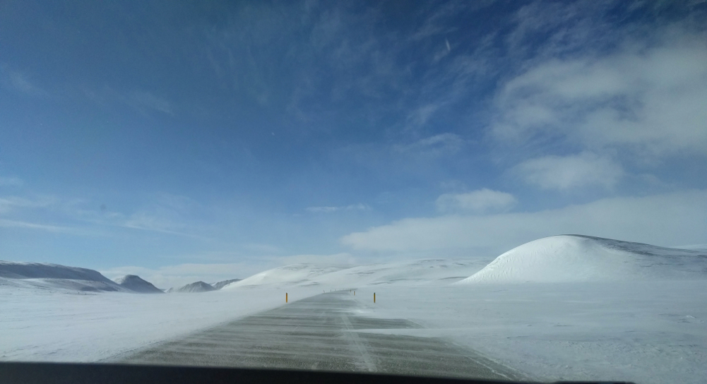 the road to Myvatn covered with snow.